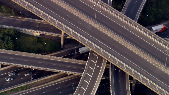 m25 and m23 junction  - aerial view -, united kingdom - motorway stock videos & royalty-free footage