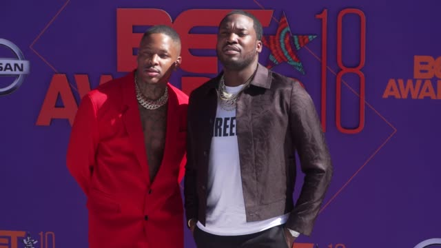 YG and Meek Mill at the 2018 BET Awards at Microsoft Theater on June 24 2018 in Los Angeles California