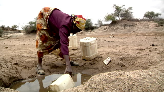 and puring it into a gallon Woman collecting water from pond on July 29 2011 in Road from Garissa to Dadaab Kenya