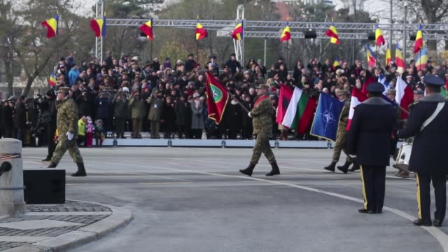 US and Romanian Service Members participate in Romania's National Day Parade at Bucharest Romania Dec 1 2018