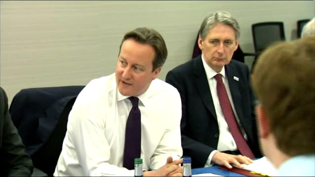 UK and Scottish cabinets meet separately in Aberdeen INT Cameron speaking to cabinet meeting of British government Wide shot Cameron speaking at...