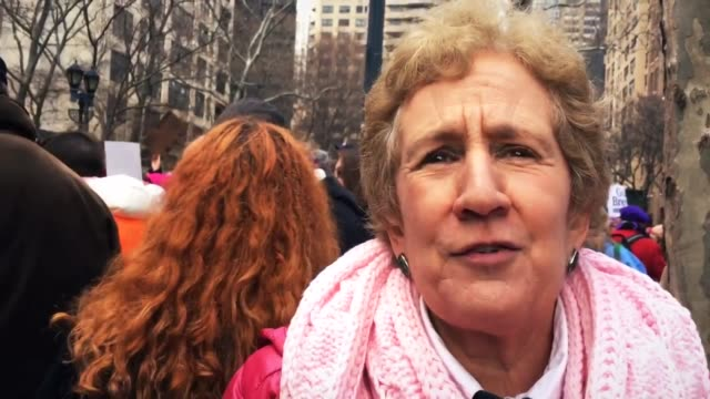 vo and sots during the beginning of the women's march in nyc - cynthia nixon stock videos and b-roll footage