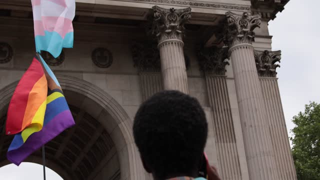 and trans flag at trans+ pride march on june 26, in london, england. - pride stock videos & royalty-free footage