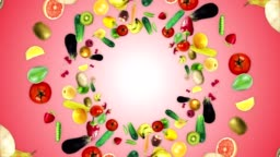 FRUITS and VEGETABLES Ring Background, Loop, with Alpha Channel