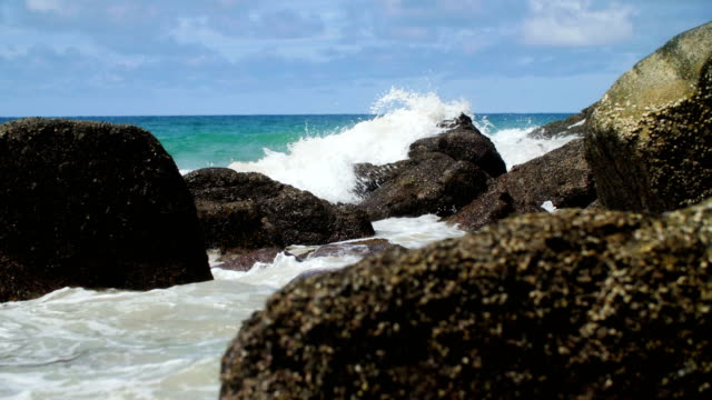 andaman beach slow motion - rocky coastline stock videos & royalty-free footage