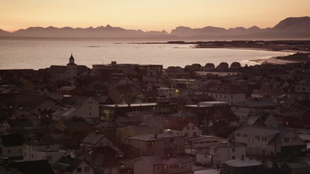 stockvideo's en b-roll-footage met andenes town at sunset, norway - establishing shot