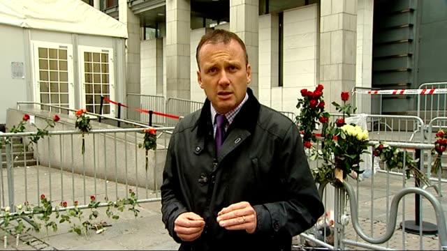 stockvideo's en b-roll-footage met anders behring breivik appears to show first signs of regret during trial ext reporter to camera - anders behring breivik