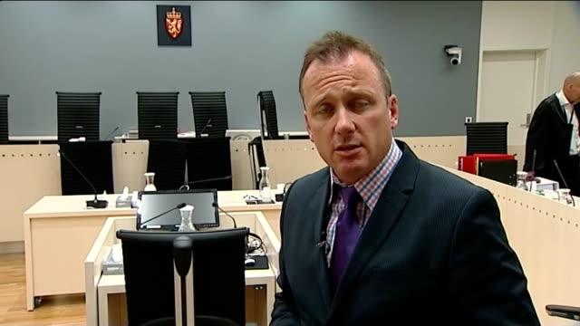 stockvideo's en b-roll-footage met anders behring breivik continues to testify at mass murder trial reporter to camera in courtroom - anders behring breivik