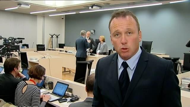 stockvideo's en b-roll-footage met anders behring breivik demands aquittal or death penalty in murder trial norway oslo int reporter to camera - anders behring breivik