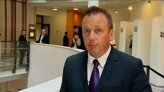 stockvideo's en b-roll-footage met anders behring breivik gives testimony in court reporter to camera - anders behring breivik