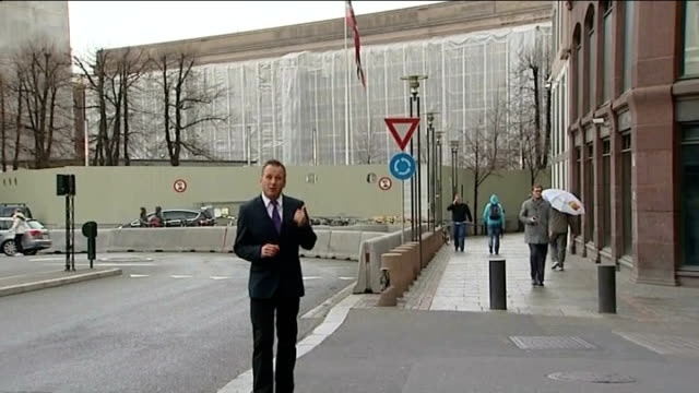 anders behring breivik goes on trial for mass murder; ext reporter to camera - report stock videos & royalty-free footage