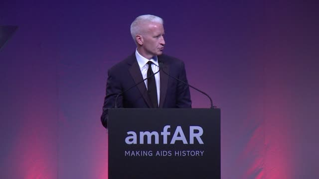 SPEECH Anderson Cooper starts off the evening at 2015 amfAR Inspiration Gala New York at Spring Studios on June 16 2015 in New York City
