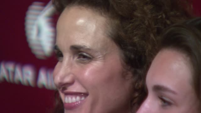 andie macdowell and rainey qualley at the qatar airways hosts gala event to celebrate inaugural flights to nyc at frederick p. rose hall - home of... - andie macdowell stock videos & royalty-free footage