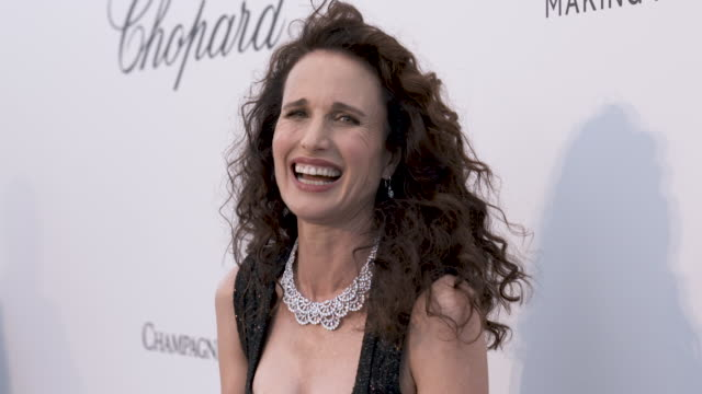 andie macdowell at amfar cannes gala 2019 - arrivals at hotel du cap-eden-roc on may 23, 2019 in cap d'antibes, france. - andie macdowell stock videos & royalty-free footage