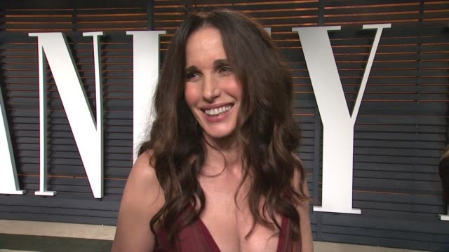 interview andie macdowell at the 2015 vanity fair oscar party hosted by graydon carter at wallis annenberg center for the performing arts on february... - wallis annenberg center for the performing arts stock videos and b-roll footage