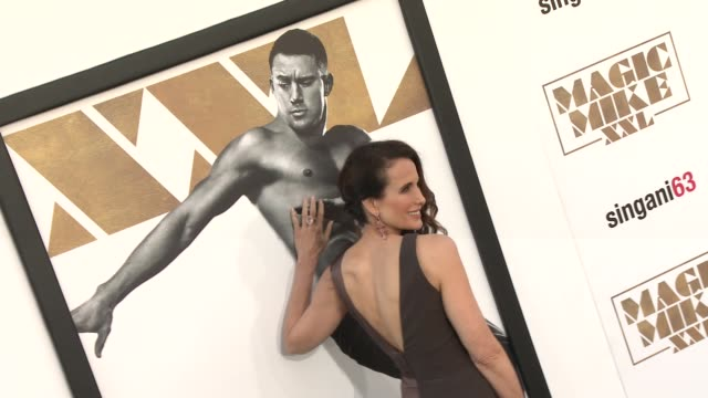 """andie macdowell at the los angeles world premiere of warner bros. pictures' """"magic mike xxl"""" at tcl chinese theatre on june 25, 2015 in hollywood,... - andie macdowell stock videos & royalty-free footage"""