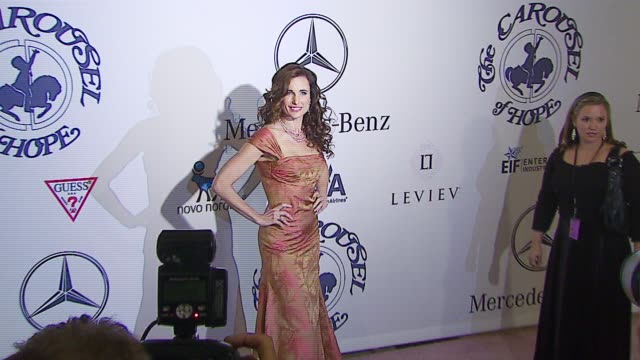 andie macdowell at the mercedes-benz presents the 17th carousel of hope ball at the beverly hilton in beverly hills, california on october 29, 2006. - andie macdowell stock videos & royalty-free footage