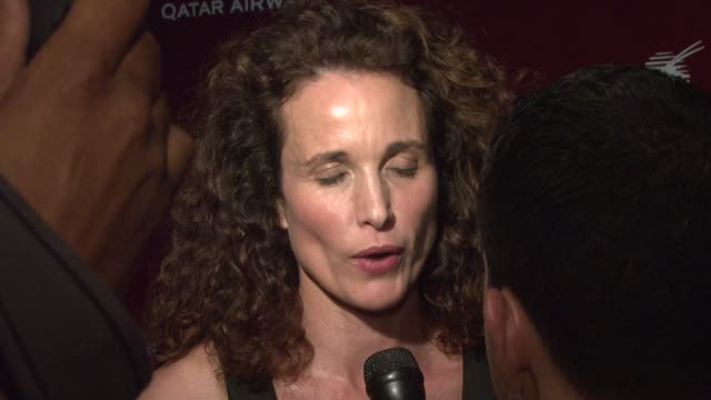 andie macdowell at the qatar airways hosts gala event to celebrate inaugural flights to nyc at frederick p. rose hall - home of jazz at lincoln... - andie macdowell stock videos & royalty-free footage