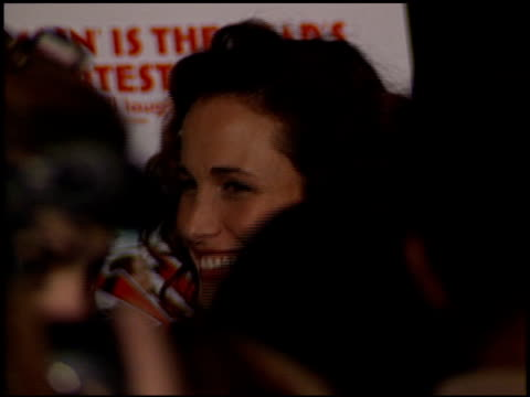 andie macdowell at the 'state and main' premiere at dga theater in los angeles, california on december 18, 2000. - andie macdowell stock videos & royalty-free footage