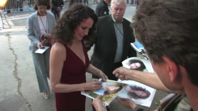 andie macdowell greets fans at footloose premiere in westwood - andie macdowell stock videos & royalty-free footage