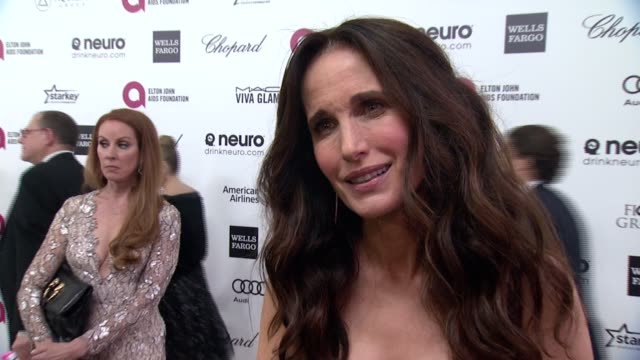 andie macdowell on being at the event, and on elton john at the february 22, 2015 in west hollywood, california. - andie macdowell stock videos & royalty-free footage