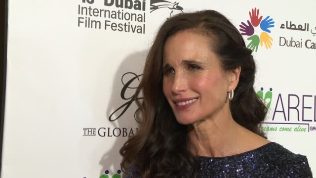 andie macdowell on giving back and supporting the charity at 2016 dubai international film festival - day 6 at madinat jumeirah on december 12, 2016... - andie macdowell stock videos & royalty-free footage