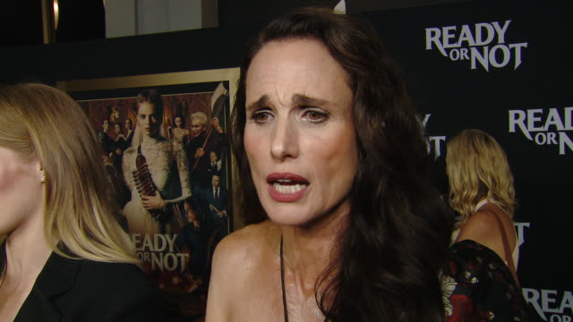 """interview andie macdowell on her character and making the movie at the """"ready or not"""" los angeles special screening presented by fox searchlight... - fox searchlight pictures stock videos & royalty-free footage"""