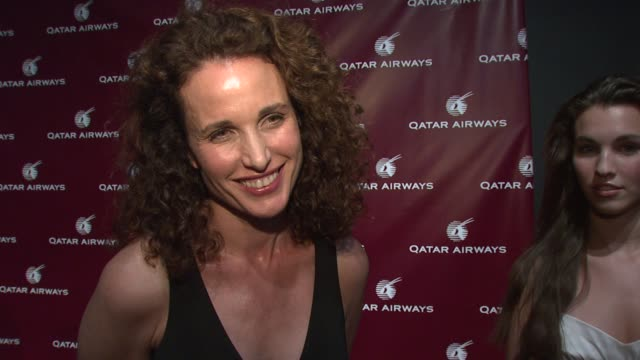 andie macdowell on her work, on attending the qatar airways gala, and an exciting destination at the qatar airways hosts gala event to celebrate... - andie macdowell stock videos & royalty-free footage