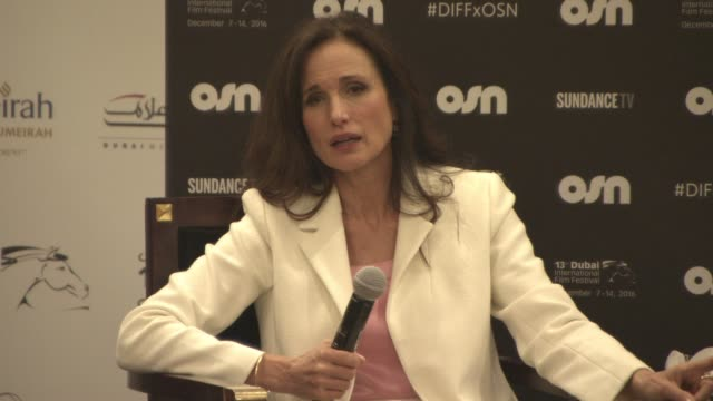 andie macdowell on visiting dubai and promoting sundance, and her career at 2016 dubai international film festival - day 6 at madinat jumeirah on... - andie macdowell stock videos & royalty-free footage