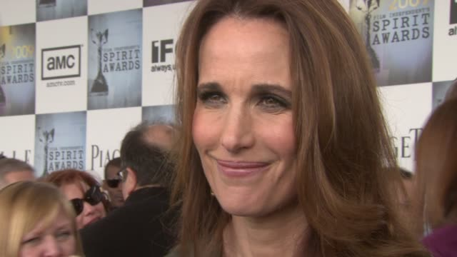 andie macdowell on what makes the independent spirit awards special and on the importance of independent movies in the film industry. at the film... - andie macdowell stock videos & royalty-free footage
