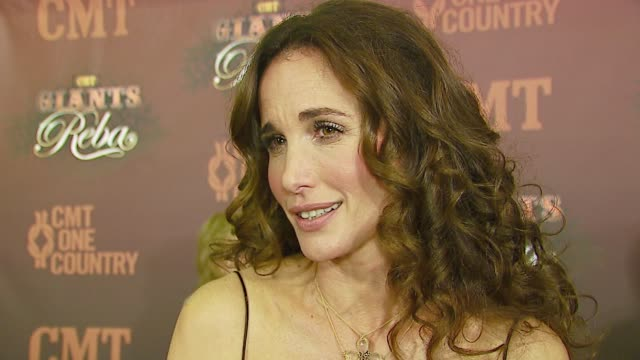 andie macdowell talks about reba, her next project, items she surrounds herself with when working, her music collection at the cmt giants honoring... - andie macdowell stock videos & royalty-free footage
