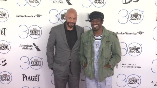 André 3000 and John Ridley at 30th Annual Film Independent Spirit Awards Arrivals at Santa Monica Beach on February 21 2015 in Santa Monica California