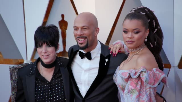 vídeos y material grabado en eventos de stock de andra day diane warren and common at the 90th academy awards arrivals at dolby theatre on march 04 2018 in hollywood california - diane warren
