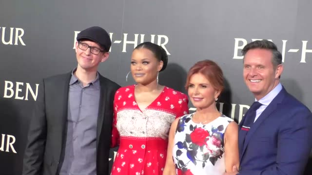 andra day mark burnett roma downey at the premiere of paramount pictures' benhur at tcl chinese theatre in celebrity sightings in los angeles - paramount pictures stock videos and b-roll footage