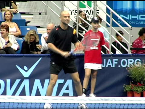 Andre' Agassi and Anna Kournikova at the 12th Annual World Team Tennis Smash Hits Benefiting the Elton John AIDS Foundation at Bren Events Center in...