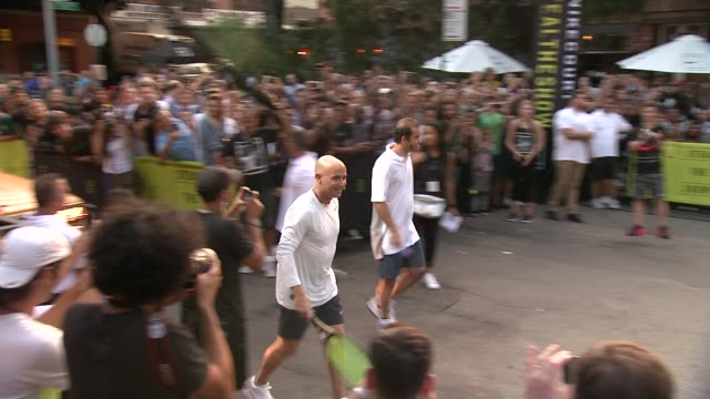 Andre Agassi and Pete Sampras at Nike's 'NYC Street Tennis' Event at TBD on August 24 2015 in New York City