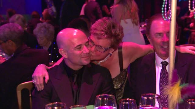 Andre Agassi Claude Mann at the The Alfred Mann Foundation's Annual BlackTie Gala at Santa Monica CA