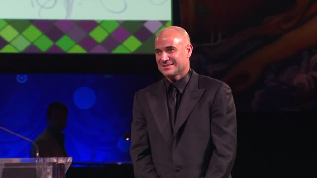 Andre Agassi live auction at the The Alfred Mann Foundation's Annual BlackTie Gala at Santa Monica CA