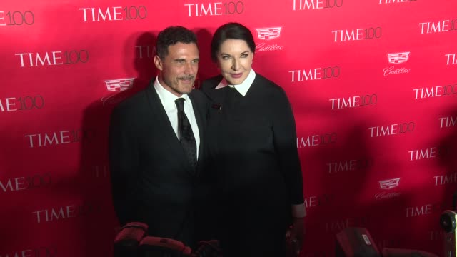 andre balazs and marina abramovic at 2016 time 100 gala time's most influential people in the world red carpet at jazz at lincoln center on april 26... - マリーナ アブラモヴィッチ点の映像素材/bロール
