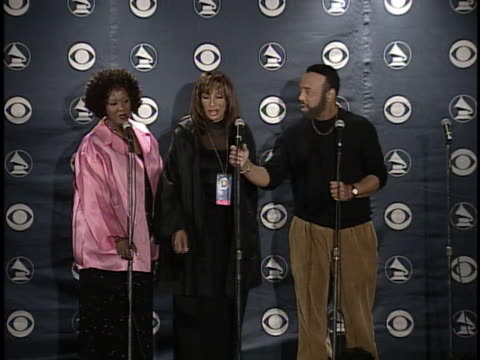 andre crouch at the grammy awards pressroom pool feed at . - andrae crouch点の映像素材/bロール