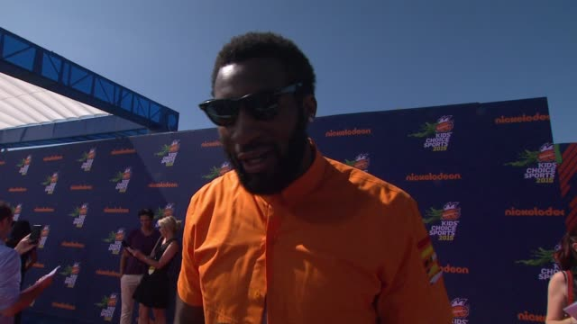 interview andre drummond on how much he's looking forward to tonight's show how these nick award shows stand out and any advice to young athletes at... - athleticism stock videos & royalty-free footage