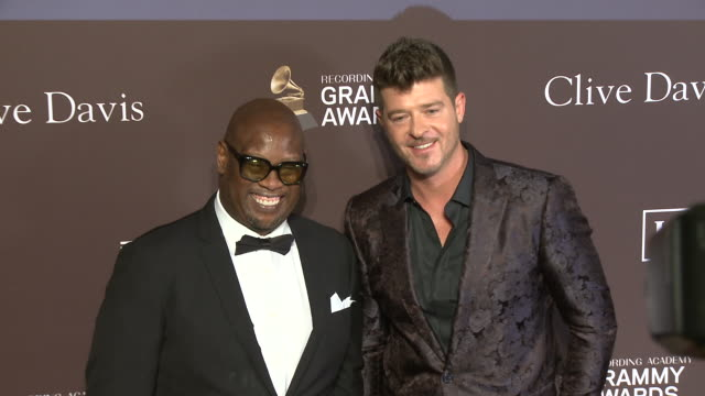 Andre Harrell and Robin Thicke at the Clive Davis' and the Recording Academy's PreGRAMMY Gala at The Beverly Hilton Hotel on February 09 2019 in...