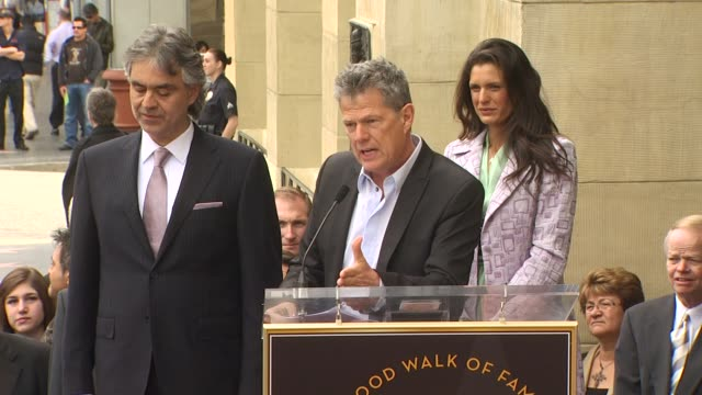 Andrea Bocelli David Foster and Veronica Berti at the Andrea Bocelli Honored With A Star On The Hollywood Walk Of Fame at Hollywood CA