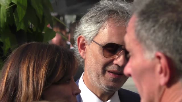 Andrea Bocelli greets fans after having lunch in Beverly Hills in Celebrity Sightings in Los Angeles