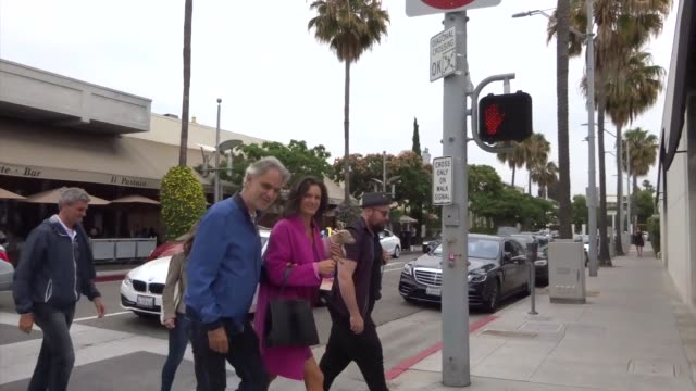 Andrea Bocelli joins Elisabetta Canalis Mohamed Hadid for lunch at Il Pastaio restaurant in Beverly Hills in Celebrity Sightings in Los Angeles