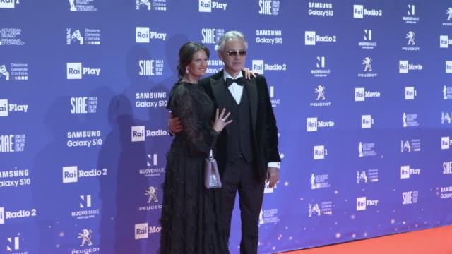 andrea bocelli, matteo bocelli, veronica berti at the david di donatello awards on march 27, 2019 in rome, italy. - andrea bocelli stock videos & royalty-free footage