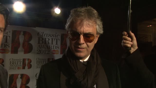 Andrea Bocelli on being nominated the birth of his third child and more at Classic Brit Awards 2012 at Royal Albert Hall on October 02 2012 in London...