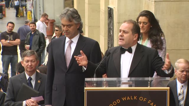 andrea bocelli , pascal vicedomini and veronica berti at the andrea bocelli honored with a star on the hollywood walk of fame at hollywood ca. - andrea bocelli stock videos & royalty-free footage