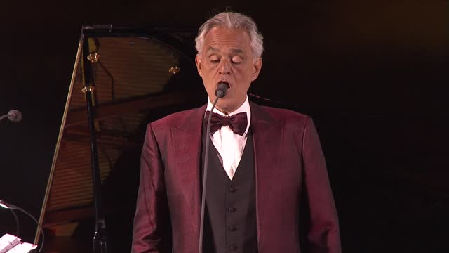 andrea bocelli performs in concert on april 08, 2021 at world heritage site hegra in alula near tabuk, saudi arabia. - andrea bocelli stock videos & royalty-free footage