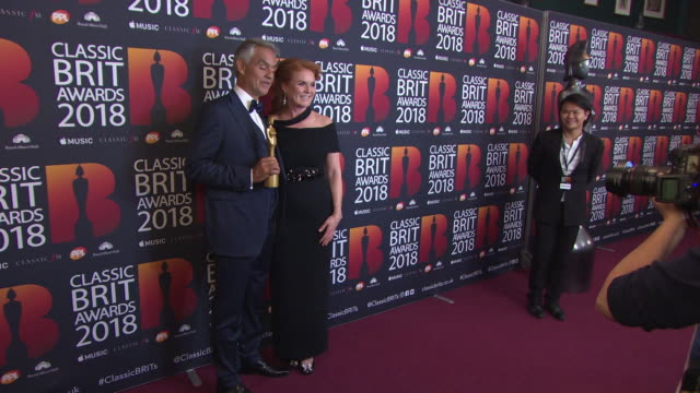 andrea bocelli sarah ferguson at the classic brit awards at royal albert hall on june 13 2018 in london england - duchess of york stock videos & royalty-free footage